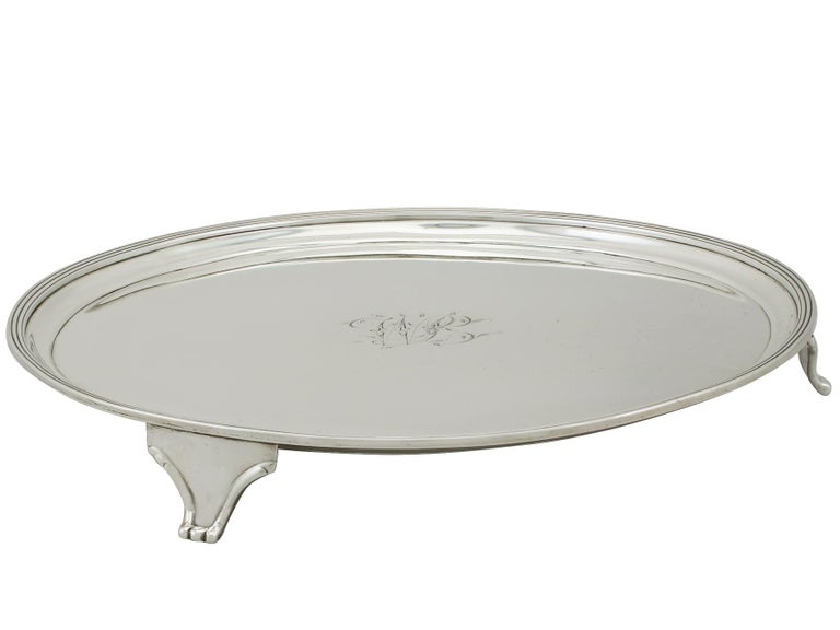 George III Georgian English Sterling Silver Salver For Sale