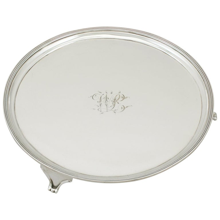 Georgian English Sterling Silver Salver For Sale