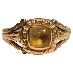 Georgian Era Antique 9 Karat Rose Gold 1.24 Carat Citrine Ring