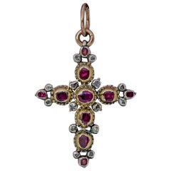 Georgian Era Antique Ruby Diamond Cross Pendant, 1700s