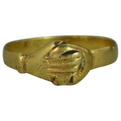 Georgian Fede Handholding Faith Ring in 18 Carat Yellow Gold