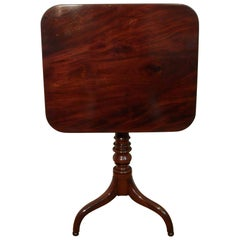 Georgian Figured Mahogany Tilt-Top Tripod Lamp Table