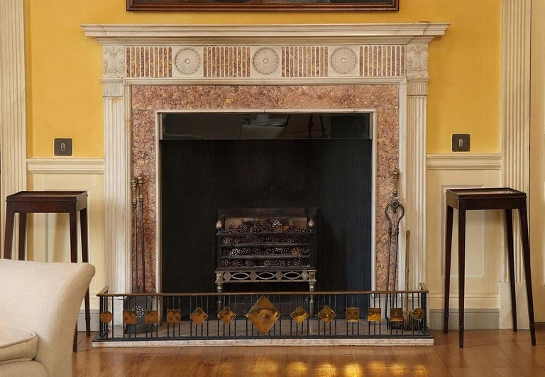Carved Georgian Fireplace Mantel in Statuary and Spanish Brocatelle Marble For Sale