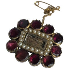 Georgian Flat Cut Almandine Garnet, Pearl and Gold Mourning Brooch