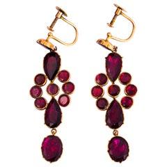 Georgian Flat Cut Garnet and Gold Earrings