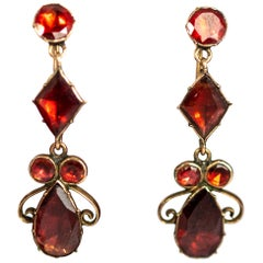Georgian Flat Cut Garnet and Gold Earrings