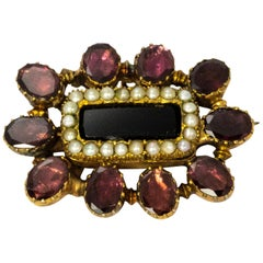 Georgian Flat Cut Garnet and Pearl Memorial Brooch