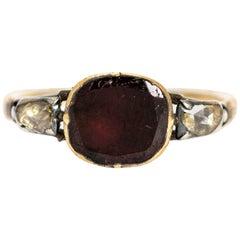 Georgian Flat Cut Garnet and Rose Cut Diamond 18 Carat Gold Ring