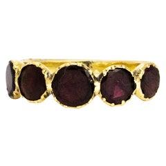 Georgian Flat Cut Garnet Five Stone 18 Carat Gold Band