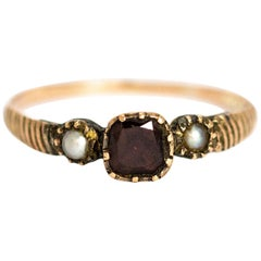 Georgian Flat Cut and Pearl 9 Karat Gold Three-Stone Ring