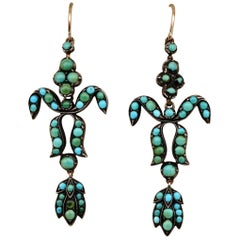 Georgian Fleur de Lys Natural Turquoise Long Drop Earrings 9 Karat Gold