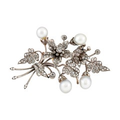 Georgian Flower Brooch with Pearls and Diamonds