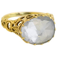 Georgian Foil Backed 10 Carat White Sapphire Filigree Ring