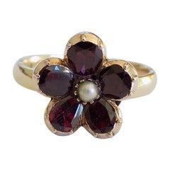 Georgian Foil Backed Garnet Pearl Gold Flower Ring