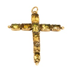 Georgian Foiled Citrine and Yellow Gold Cross Pendant