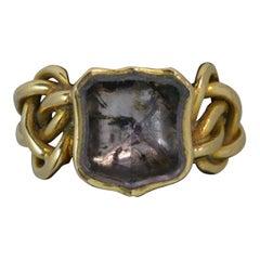 Georgian Foiled Rock Crystal Shield 15 Carat Gold Knot Signet Ring