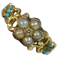Georgian Forget Me Not Diamond Pearl and Turquoise 15 Carat Gold Ring