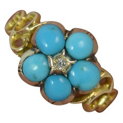 Georgian Forget Me Not Turquoise and Diamond 15 Carat Gold Ring