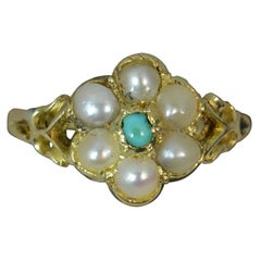 Georgian Forget Me Not Turquoise and Pearl 18 Carat Gold Ring