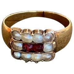 Georgian Garnet and Pearl 14 Karat Yellow Gold Ring