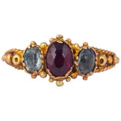 Georgian Garnet, Aqua and 18 Carat Three-Stone Ring
