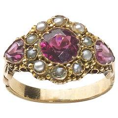 Georgian Garnet Pearl and Gold Ring, circa 1830