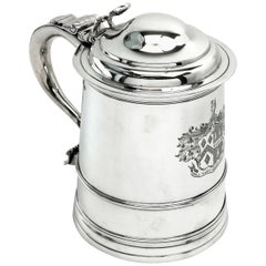 Georgian George III Antique Silver Lidded Tankard / Beer Mug, 1805