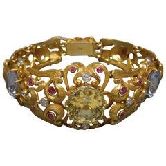 Georgian Style GIA Sri Lanka Sapphire Bracelet