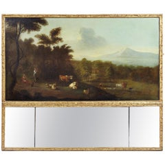 Georgian Giltwood Overmantle Mirror with Oil on Canvas Pastoral Scene Painting