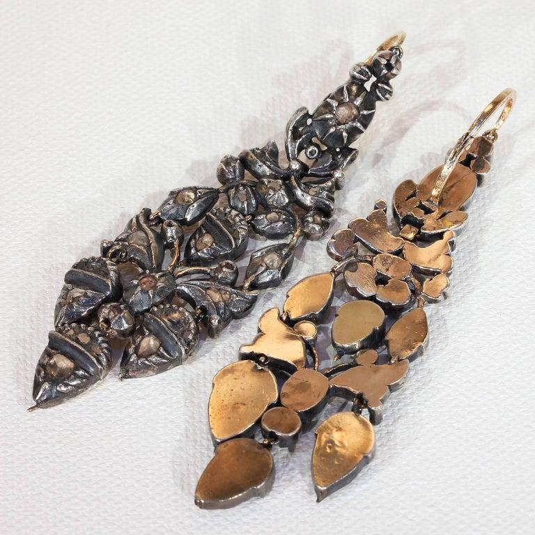 Rose Cut Georgian Girandole Diamond Earrings Acorn Motif For Sale