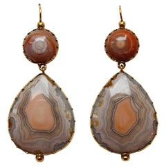 Georgian Gold and Agate Drop Earrings