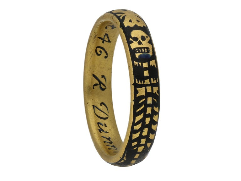Georgian Gold and Enamel Memorial Skeleton Ring, circa 1731 In Good Condition For Sale In London, GB