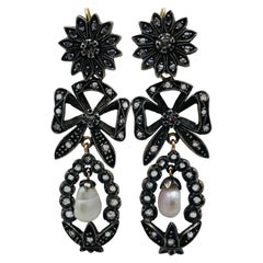 Georgian Gold and Silver, Rose Cut Diamonds and Pearl Day and Night Earrings