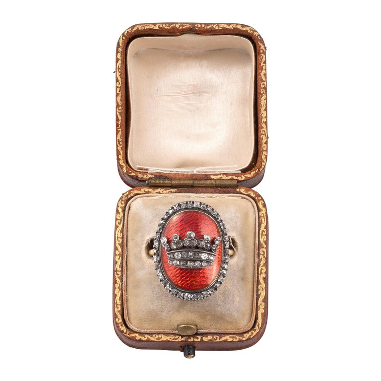 18th Century Georgian Gold Diamond Enamel Crown Ring For Sale