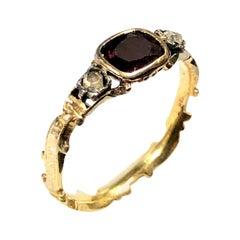 Georgian Gold Enamel Garnet and Diamond Marriage Ring