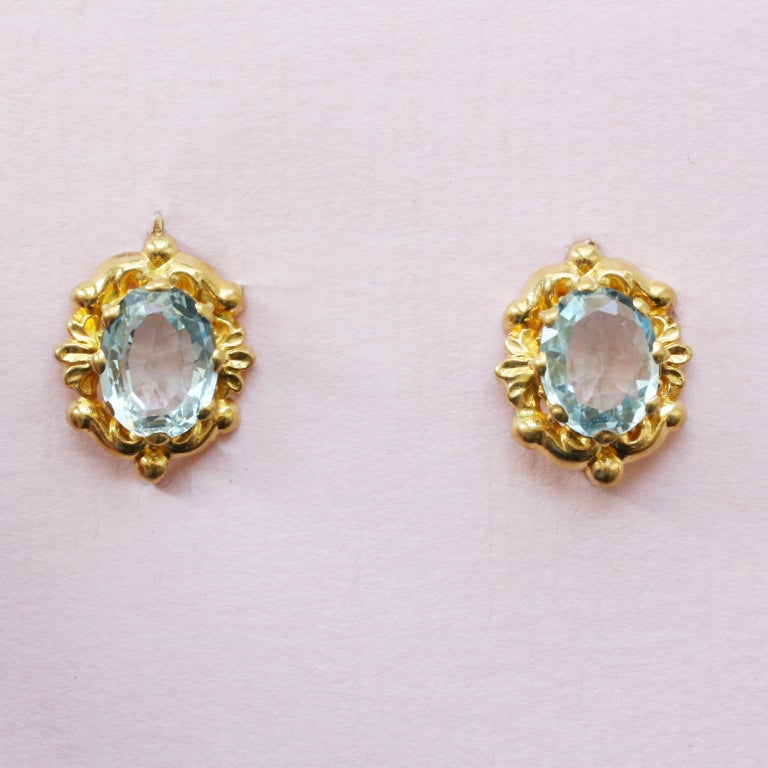 Women's Georgian Gold Girandole Aquamarine Pink Topaz 18 Karat Gold Dangle Drop Earrings For Sale