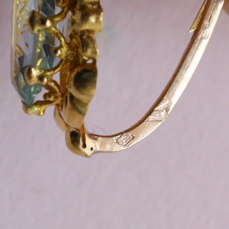 Georgian Gold Girandole Aquamarine Pink Topaz 18 Karat Gold Dangle Drop Earrings For Sale 2