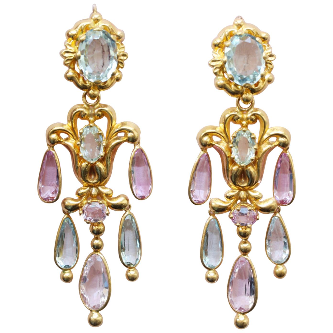 A pair of 19th-century aquamarine and pink topaz girandole earrings offered by Kunsthandel Inez Stodel
