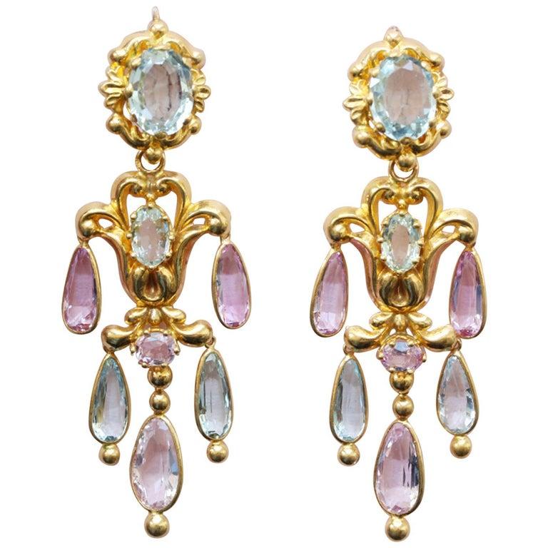 Georgian Gold Girandole Aquamarine Pink Topaz 18 Karat Gold Dangle Drop Earrings For Sale