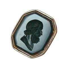 Georgian Gold Socrates Bloodstone Intaglio Seal Pendant Fob