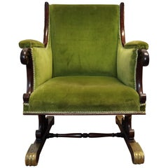 Georgische Grüne Samt und Mahagoni Sessel, um 1750