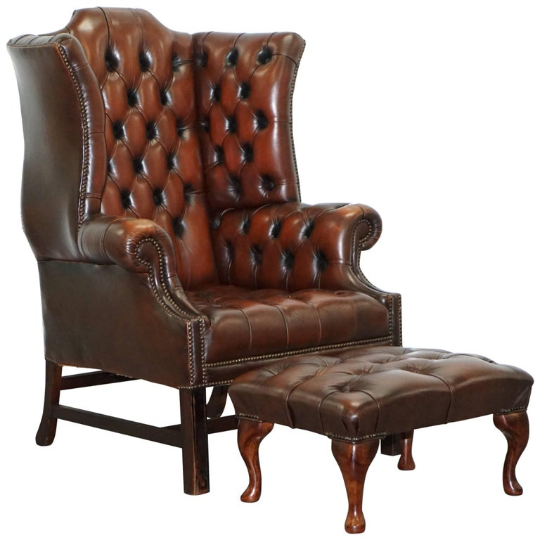 georgian h framed chesterfield wingback brown leather. Black Bedroom Furniture Sets. Home Design Ideas