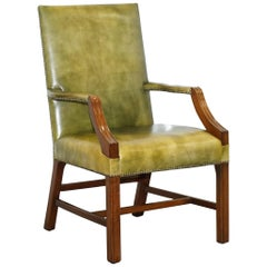 Georgian H Framed Green Leather Gainsborough Carver Armchair Hand Dyed Leather