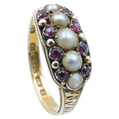 Georgian Hallmarked Garnet & Seed Pearl Band Ring
