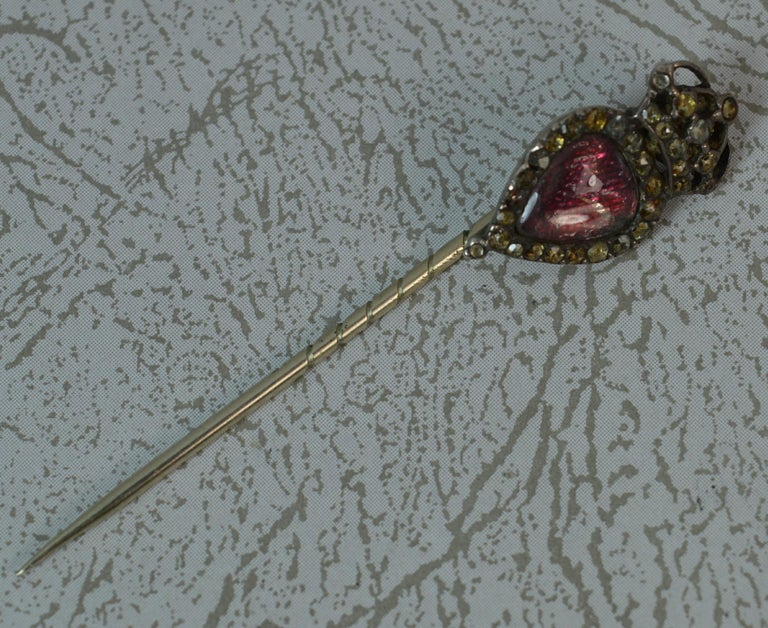 Georgian Heart Crown Foiled Crystal Rose Cut Paste Rose Gold Stick Pin For Sale 7