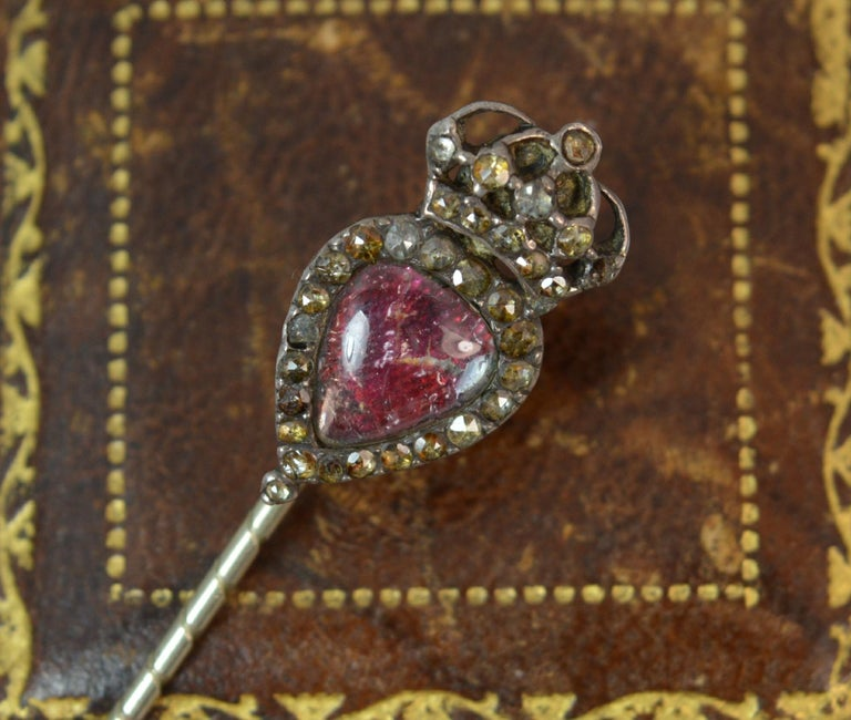 Georgian Heart Crown Foiled Crystal Rose Cut Paste Rose Gold Stick Pin For Sale 8