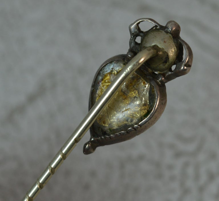 Georgian Heart Crown Foiled Crystal Rose Cut Paste Rose Gold Stick Pin For Sale 4
