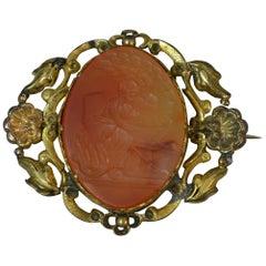 Georgian Hebe & Zeus Carnelian Intaglio Gold Cased Brooch