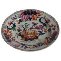 Georgian Hicks and Meigh Ironstone Plate Hand Painted in Water Lily Pattern No.5