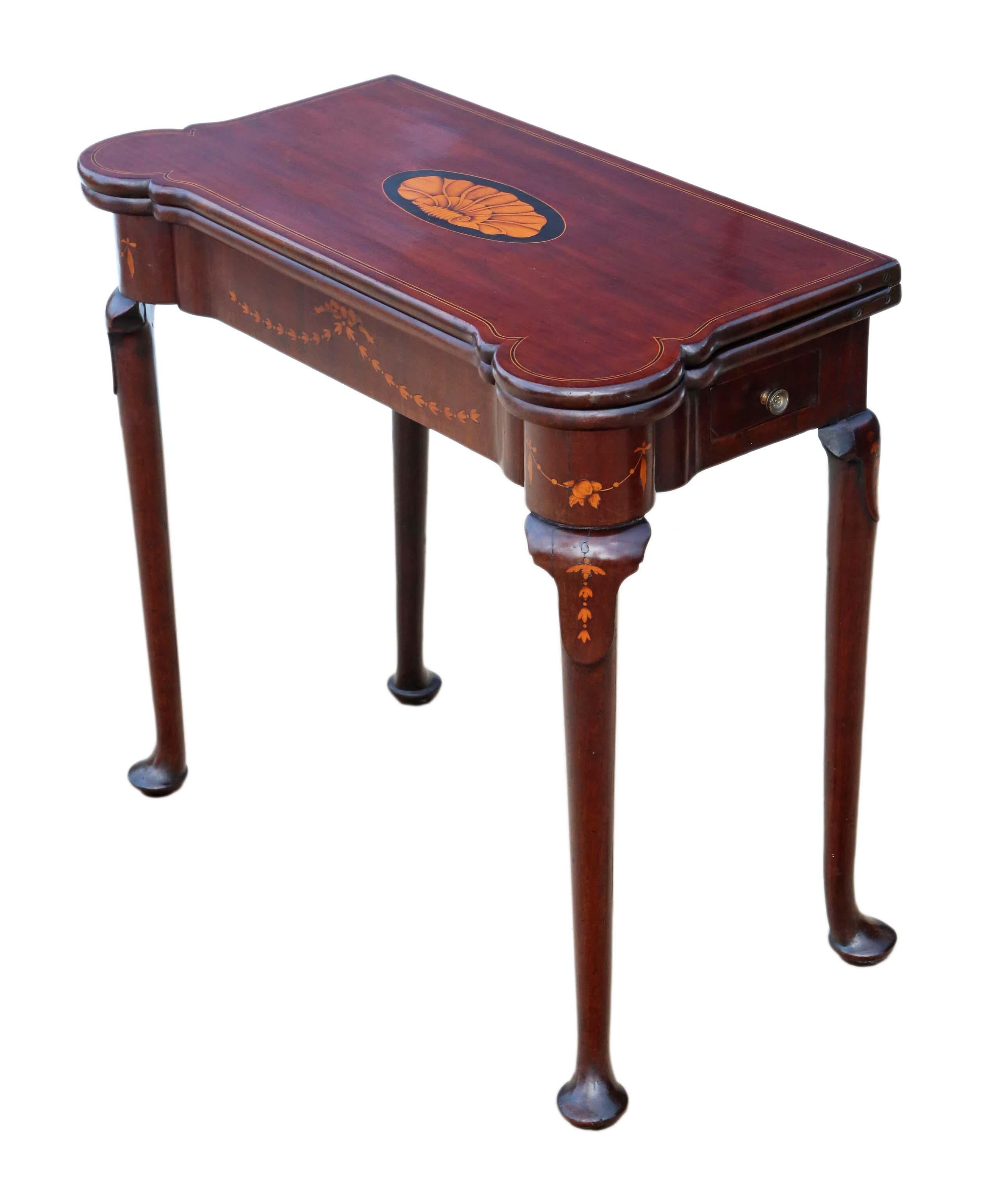 Georgian Ii Circa 1750 Inlaid Mahogany Folding Card Table Tea Console